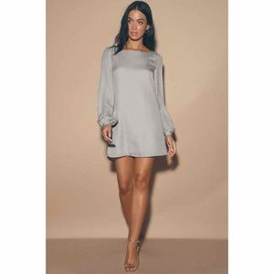 Lulus Status Update Light Grey Shift Dress